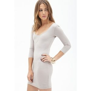 NWT Forever 21 Taupe Mesh Stripe Bodycon Dress